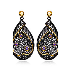 Earring Oval / Heart Drop Earrings Jewelry Women Fashion Wedding / Party / Daily / Casual Cubic Zirconia / Copper 1 pair Black / Coppery