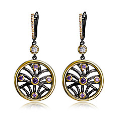 Earring Round Drop Earrings Jewelry Women Fashion Wedding / Party / Daily / Casual Cubic Zirconia / Copper 1 pair Black / Coppery