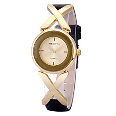 REBIRTH® Women's Simple Fashion Golden Cross Case PU Leather Strap Quartz Wrist Watch Casual Watch Dress Watch