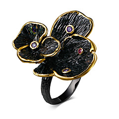 Black Gold plated engagement ring women cubic zircon glitter Bohemia flower ring for women jewelery