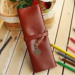 Student Stationery Retro Leather Large Capacity Pencil Case