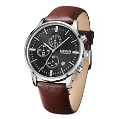 Masculino Relógio de Pulso Quartz Calendário / Cronógrafo / Impermeável Couro Banda Preta / Marrom marca- MEGIR