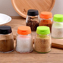 Kitchen Supplies Glass Seasoning Cans Multifunctional Barbecue Condiment Bottles Pepper Bottles (a Set of 2)