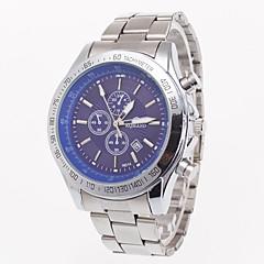 Fashion Luxury Silver Steel Band Men's Wristwatch Business Watch With Calender Quartz Watch For Gentlemen