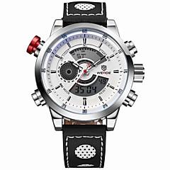 Hommes Montre Bracelet Quartz Japonais LCD Calendrier Chronographe Etanche Double Fuseaux Horaires penggera Montre de Sport Cuir Bande