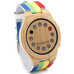 Heren Dames Uniseks Sporthorloge Modieus horloge Horloge Hout Kwarts Japanse quartz / Leer Band Vintage Regenboog Vrijetijdsschoenen