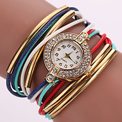 Women's Unisex Fashion Watch Wrist watch Bracelet Watch Quartz Colorful Rhinestone Imitation Diamond PU BandVintage Sparkle Bohemian Strap Watch