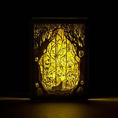 1pc cervo nella foresta la sagoma tridimensionale scolpita spia foto nordico cornice della luce di notte