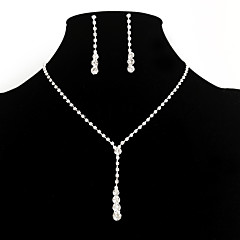 Women European Style Fashion Simple Rhinestone Bridal Necklace Earring Sets Wedding Jewelry