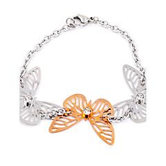 Three Butterfly Hollowed Titanium Steel Link Chain Charm Bracelets
