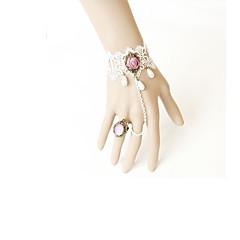 Lolita Accessoires Klassiek en Tradtioneel Lolita Armband Victoriaans Wit Lolita-accessoires Armband Kant Voor Kunst Edelstenen