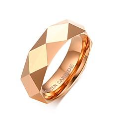 Męskie Obrączki Modny Osobiste biżuteria kostiumowa Stal wolframowa Pokryte różowym złotem Geometric Shape Biżuteria Na Ślub Impreza