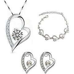 Sieraden set Kristal Sterling zilver Kristal Verguld Modieus Aanbiddelijk Wit Bruidssieradensets Feest Causaal 3 stuksKettingen Oorbellen