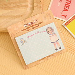 Doll Pattern Self-stick Note Random Color