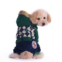 Katte Hunde Frakker Jumpsuits Hundetøj Vinter Forår/Vinter Britisk Mode Afslappet/Hverdag Hold Varm Rød Grøn