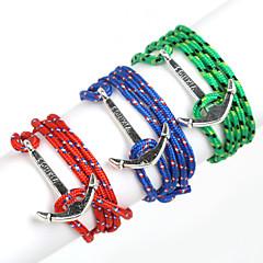 Heren Bedelarmbanden Wikkelarmbanden Verstelbaar Meerlaags Kostuum juwelen Nylon Legering Lijnvorm Anker Sieraden Voor Dagelijks Causaal