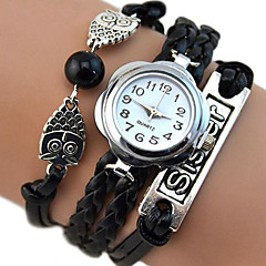 Women Owl Sister Infinity Braided Multilayer Faux Leather Quartz Bracelet Watch