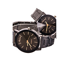 Women/Men/Couple Black Steel Band Analog Quartz Wrist Watch