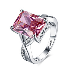 lureme Luxury 18kRPG Ruby Cubic Zirconia Weddinng Engagement Band Ring