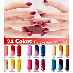 New Colorful Chameleon Temperature UV Gel Polish Nail Lacquer 7ml 24 Colors