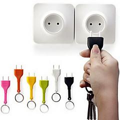 Novelty Portable Anti Lost Cute Home Wall Decroation Design Unplug Keyring EU Plug Socket Keychain Key Ring Holder