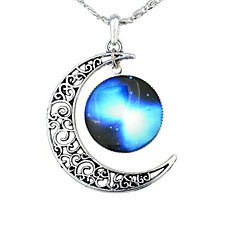 Women's Pendant Necklaces Gemstone Alloy Moon Fashion Adjustable Red Green Blue Red/White Rainbow Jewelry Party Halloween Business Gift
