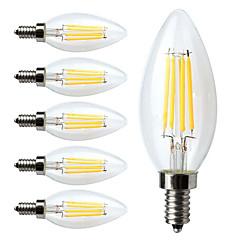 4W E14 Ampoules à Filament LED C35 4 COB 400 lm Blanc Chaud Décorative / Gradable AC 100-240 V 6 pièces