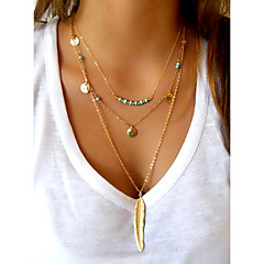Women's Pendant Necklaces Layered Necklaces Wings / Feather Feather Turquoise Alloy Basic Simple Style European Sequins Personalized