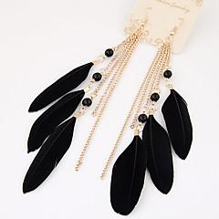 Women European Style Fashion Bohemian Elegant Feather Tassel Drop Earrings