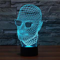 Brille Mann Touch Dimm Weihnachten 3d Nachtlicht 7colorful Dekoration Atmosphäre Lampe Neuheit-Beleuchtung LED-Licht