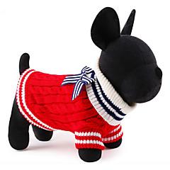 Γάτες / Σκυλιά Πουλόβερ Κόκκινο / Μπλε Ρούχα για σκύλους Χειμώνας / Άνοιξη/Χειμώνας Ναυτικό Καθημερινά / Διατηρείτε Ζεστό