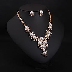 Women Bohemian Style Luxury Diamond Pearl Necklace Earring Set