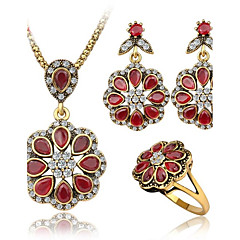 Jewelry Set Ruby AAA Cubic Zirconia Gemstone Red Casual 1set 1 Necklace 1 Pair of Earrings 1 Ring Wedding Gifts