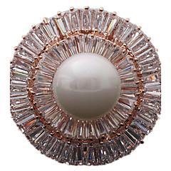 Kadın Broşlar lüks mücevher kostüm takısı İnci Zirkon Kübik Zirconia Circle Shape Geometric Shape Mücevher Uyumluluk Günlük