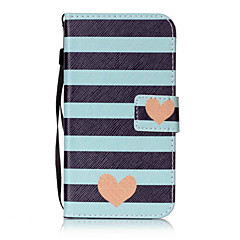 For LG K10 K8 Case Cover Striped Love Pattern Painting Card Stent PU Leather for K7 LS770 LS775 V20