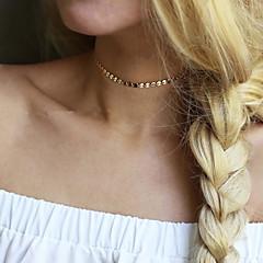 Women Simple Retro Copper Sequins Chorker Short Necklace  1 Piece