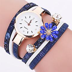 Women's Fashion Watch Bracelet Watch Casual Watch / Quartz PU Band Flower Cool Casual Black White Blue Red Grey