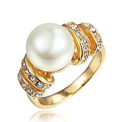 指輪 真珠 結婚式 / パーティー / 日常 / カジュアル ジュエリー ゴールドメッキ 女性 指輪 1個,7 / 8 ゴールデン