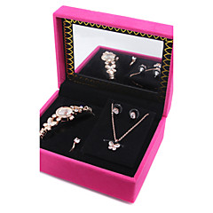 1 Set Women's Gold Bracelet Wacth AAA Zircon Butterfly Pendant Necklace Earrings Set Gift with Package