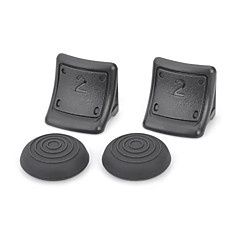 Replacement Plastic Triggers with Silicone Cap Covers for PS3 Wireless Controller (Black)