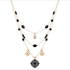 Plated KC gold retro layered Bead Necklace