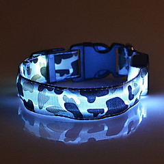 Gatos / Perros Cuello Luces LED / Ajustable/Retractable camuflaje Rojo / Blanco / Verde / Azul / Rosado / Amarillo / Naranja Nilón
