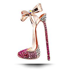 kadın moda alaşım / yapay elmas yüksek topuklu altın kaplama broş pin parti / günlük / düğün lüks mücevher 1pc