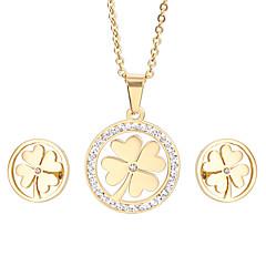 Γυναικεία Σετ Κοσμημάτων Στρας Μοντέρνα Ανοξείδωτο Ατσάλι Επιχρυσωμένο 18K χρυσό Τετράφυλλο τριφύλλι 1 Κολιέ 1 Ζευγάρι σκουλαρίκια Για