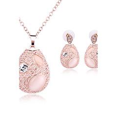 Dames Sieraden Set Opaal Basisontwerp Kostuum juwelen Strass Opaal  Legering Ovalen vorm 1 Ketting 1 Paar Oorbellen Voor Bruiloft Feest