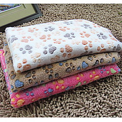 Cat Dog Towel Pet Blankets Footprint/Paw Double-Sided Foldable Beige Coffee Rose