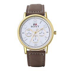 Men's Unisex Dress Watch Fashion Watch Wrist watch Water Resistant / Water Proof Quartz Leather Band Brown