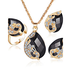 여성 다이아몬드 사파이어 에메랄드 크리스탈 의상 보석 크리스탈 라인석 도금 골드 합금 1 목걸이 1 쌍의 귀걸이 링 팩키지 1 제품 결혼식 파티 결혼 선물