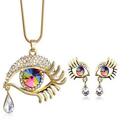 Femme Set de Bijoux Cristal Mode Goutte Mauvais Oeil 1 Collier 1 Paire de Boucles d'Oreille Pour Soirée Quotidien DécontractéCadeaux de