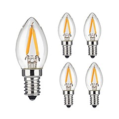 2W E14 Lâmpadas de Filamento de LED 2 COB 200 lm Branco Quente Regulável / Decorativa AC 220-240 V 5 pçs